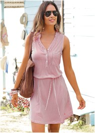 Front View Striped Casual Dress