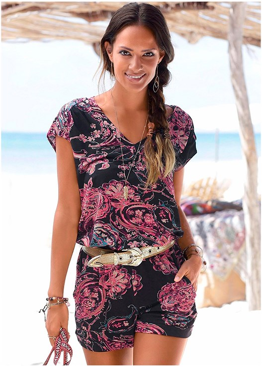 PAISLEY PRINTED ROMPER,EMBELLISHED THONG SANDALS