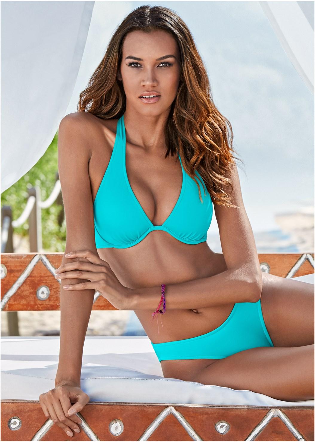 Underwire Halter Bikini Top,Low Rise Bikini Bottom
