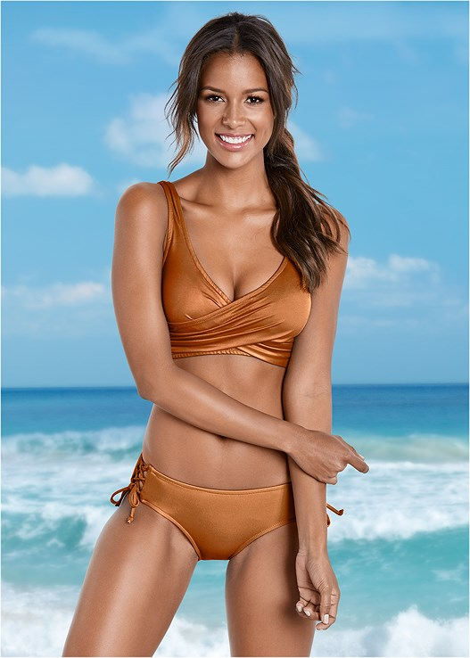 LATTICE SIDE BIKINI BOTTOM,LOVELY LIFT WRAP BIKINI TOP