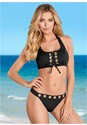 Front view Grommet Lace Up Bikini Top