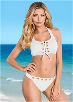 grommet lace up bikini top