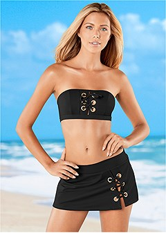 lace up grommet swim skirt