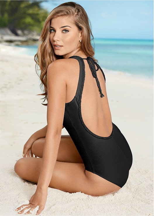 RIB KNIT ONE-PIECE,BEACHY TANK COVER-UP