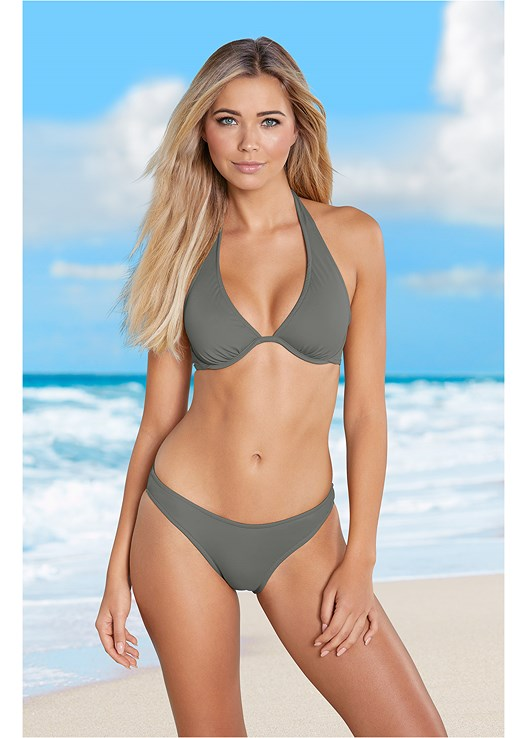 SCOOP FRONT BIKINI BOTTOM,UNDERWIRE HALTER BIKINI TOP,MARILYN PUSH UP BRA TOP,TRIANGLE BIKINI TOP,GODDESS FULL TANKINI
