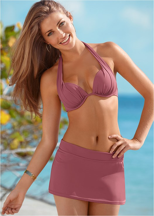 MARILYN PUSH UP BRA TOP,SKIRTED SWIM BIKINI BOTTOM