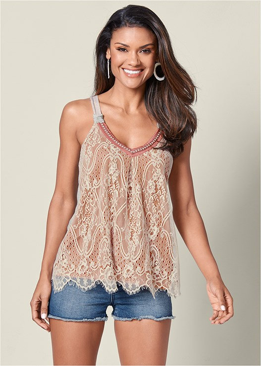 LACE FRONT TOP,CUT OFF JEAN SHORTS,EMBELLISHED SANDALS