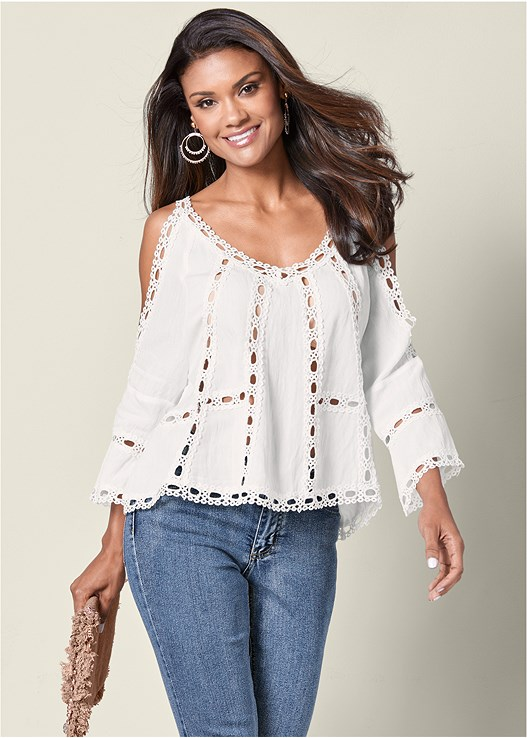 COLD SHOULDER LACE TRIM TOP,CASUAL BOOT CUT JEANS,BEADED HOOP EARRINGS,COIN EMBELLISHED HANDBAG