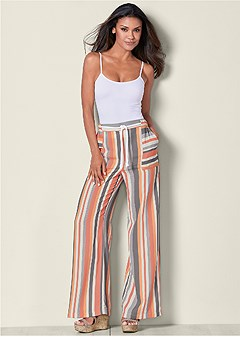 plus size stripe pants