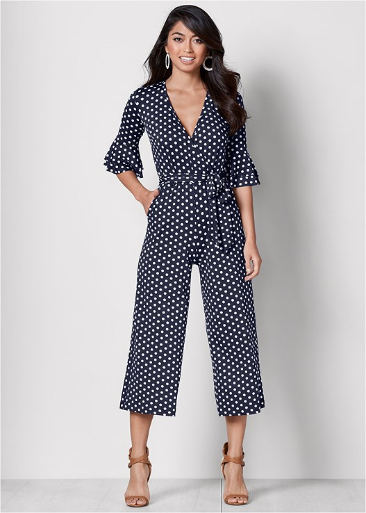 POLKA DOT JUMPSUIT,HIGH HEEL STRAPPY SANDALS