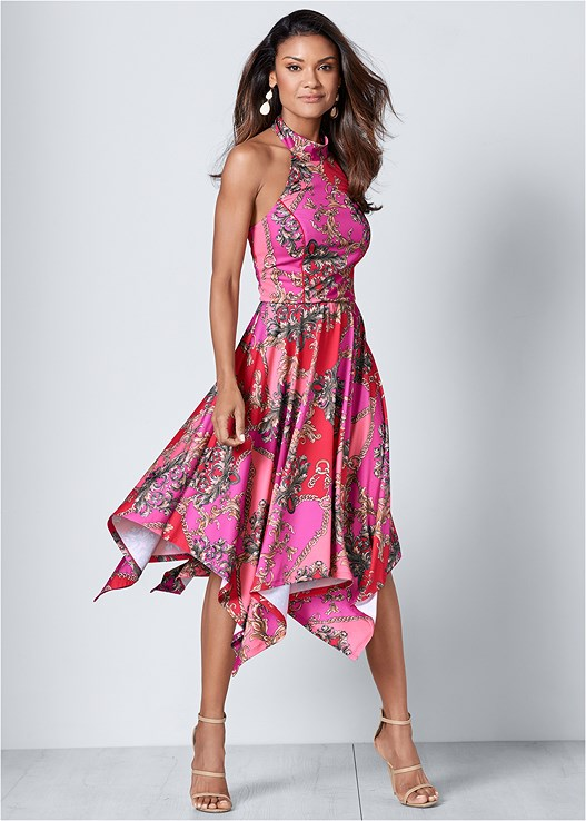 HALTER HANDKERCHIEF DRESS,HIGH HEEL STRAPPY SANDAL