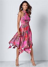 Front View Halter Handkerchief Dress