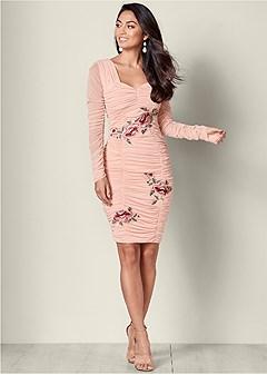 ruched applique dress