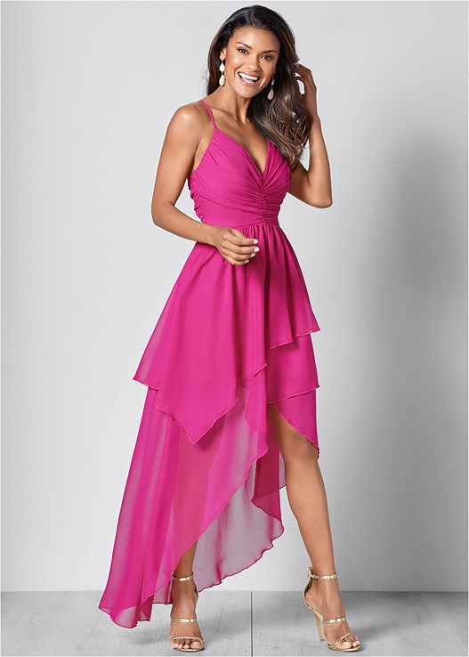 RUFFLE DETAIL LONG DRESS,HIGH HEEL STRAPPY SANDAL
