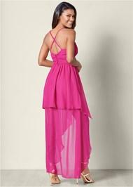 Back View Ruffle Detail Long Dress