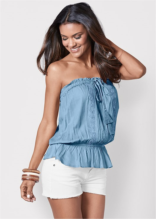 8b9c319919 TASSEL DETAIL STRAPLESS TOP in Light Blue