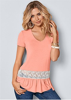 lace inset v-neck top