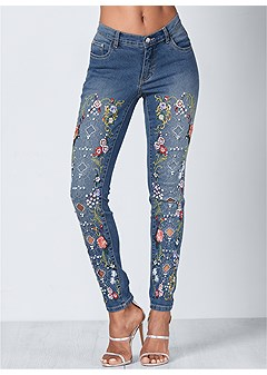 sale retailer c1d85 822a3 Embellished Jeans in Medium Wash | VENUS