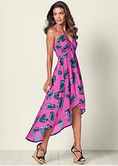 high low printed dress