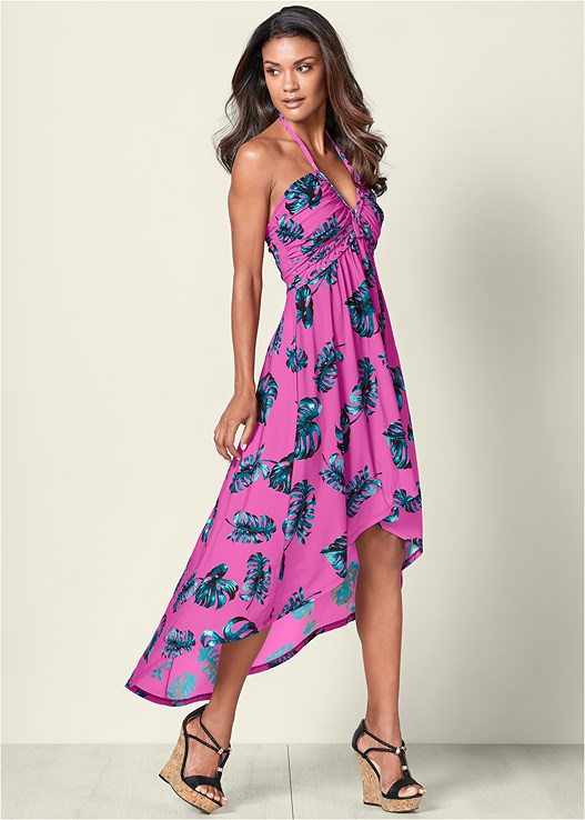 HIGH LOW PRINTED DRESS,BRAIDED DETAIL WEDGE,CHANDELIER EARRINGS