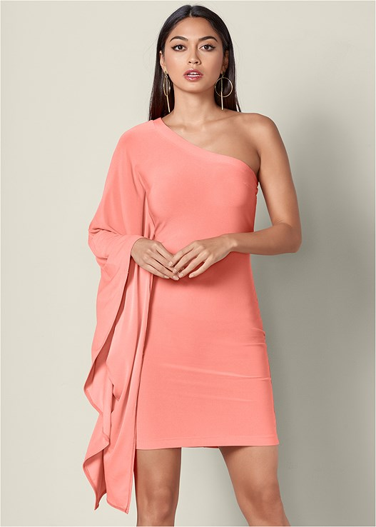 4ed37ef5b0074 ONE SHOULDER BODYCON DRESS in Coral | VENUS