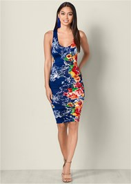 Front View Strappy Back Bodycon Dress