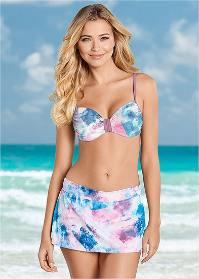 Mid Rise Swim Skirt Bikini Bottom