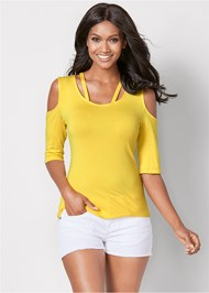 Front View Strappy Cold Shoulder Top