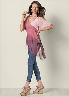 cold shoulder overlay top