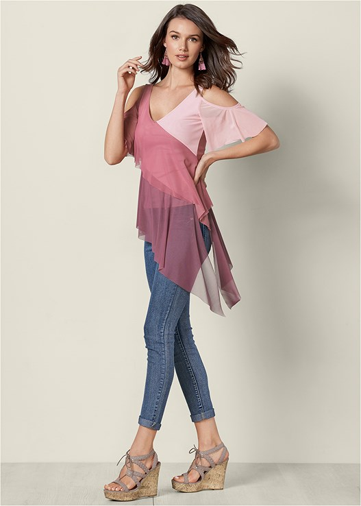 COLD SHOULDER OVERLAY TOP,COLOR SKINNY JEANS