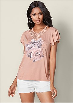 lace detail graphic tee