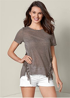 side fringe detail tee