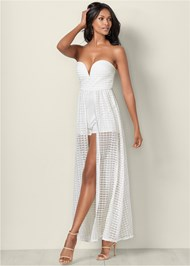 Front View Strapless Overlay Romper