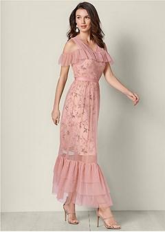 mesh detail printed dress