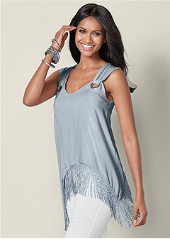 6126cbc3f67 ... bell sleeve blouses & long sleeve tunics in cute spring styles. fringe  detail top
