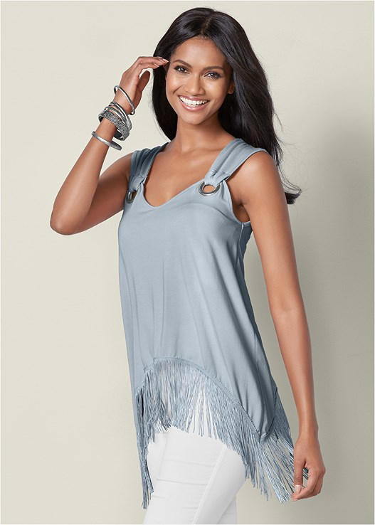 FRINGE DETAIL TOP,SLIMMING STRETCH JEGGINGS,HIGH HEEL STRAPPY SANDALS