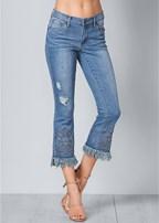 fringe embellished jeans