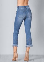 Back View Fringe Embellished Jeans