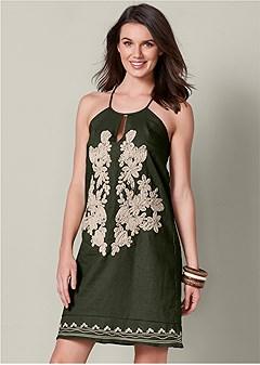 applique detail linen dress