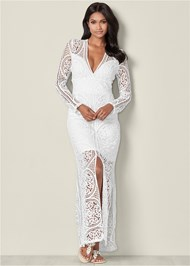 Front View Crochet V-Neck Maxi Dress