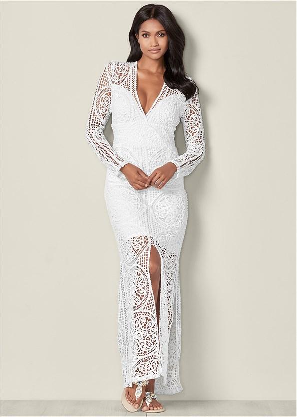 Crochet V-Neck Maxi Dress