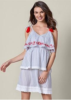 tiered tassel detail dress