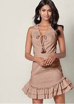 ruffle detail linen dress