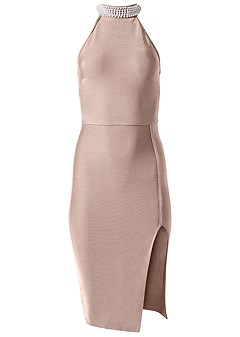plus size slimming pearl detail dress