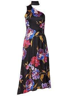 plus size choker detail floral dress