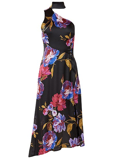 Plus Size Choker Detail Floral Dress