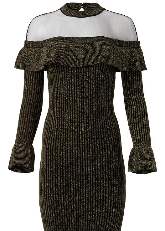 RUFFLE DETAIL SWEATER DRESS