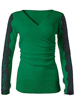 plus size lace sleeve detail sweater