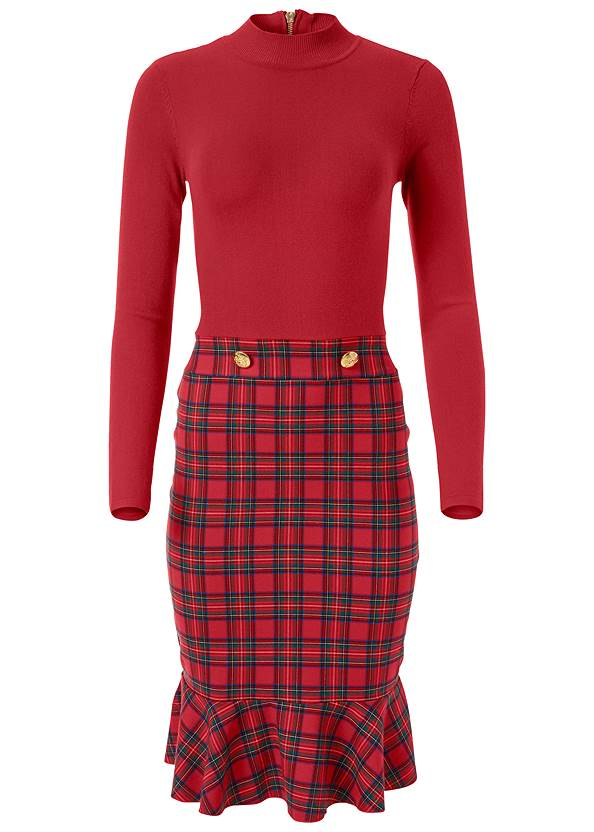 Alternate View Plaid Detail Sweater Dress