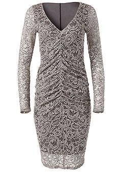plus size lace ruched detail dress